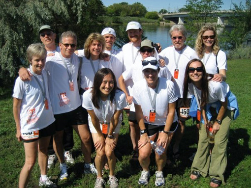 The UST River Runners 2009 Ragnar Great River Relay team: (l-r) Julie Schwalbach, Tom Hiendlmayr, Dan Gjelten, Lisa Burke, Kelly Hailstone, Jesse Langer, Ryan Carter, Maggie Tacheny, Suzanne Krzmarzick, Phil Anderson, Patty Costello, Tonia Bock