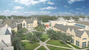 This is what the lower quadrangle will look like when both the student center and athletic complex are completed.