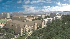 The proposed Anderson Student Center (foreground) would be located at the corner of Summit and Cretin avenues. The athletic complex is pictured northeast of the student center.