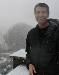 Thanos Zyngas, director of St. Thomas' campus in Rome, is clearly homesick for Minnesota snow. Well, maybe.
