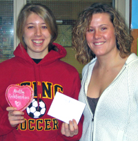 Mallory Marcotte, left, and Justina  Debruzzi were the finders of the hidden heart in this year's Heart Hunt.