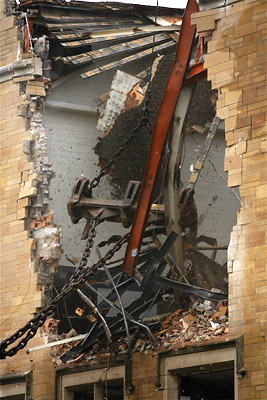 This morning marks the beginning of the end for O'Shaughnessy Hall, Thursday, March 11. (Photo by Thomas Whisenand.)