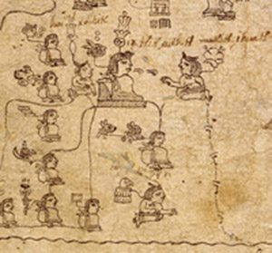 A marriage scene from the Codex Xolotl, one of the pictorial books written by the early Aztecs.