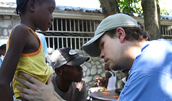 Joshua White in Haiti, helping earthquake survivors.
