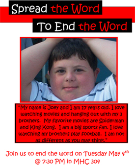 "This flyer for the ""End the Word"" campaign features Joey Busch, brother of St. Thomas senior John Busch, one of the campaign organizers."
