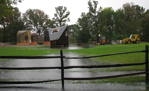 "A temporary ""Lake Gainey"" appeared yesterday in front of the Frank Gehry house at the Gainey Conference Center."
