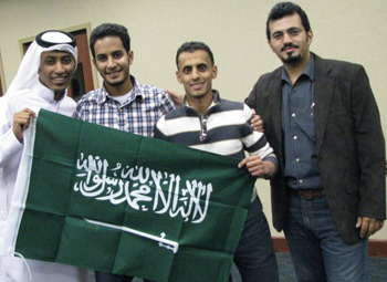 Ahmad Alkhathami, second from right, is president of the university's Saudi Club.