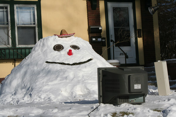 Snow person on Portland web