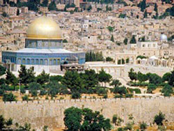 The Islamic Dome of the Rock can be seen from all over Jerusalem.