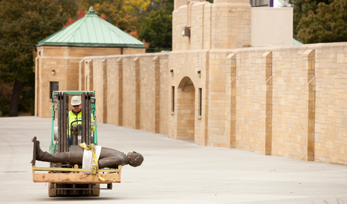 Archbishop John Ireland statue rolls in