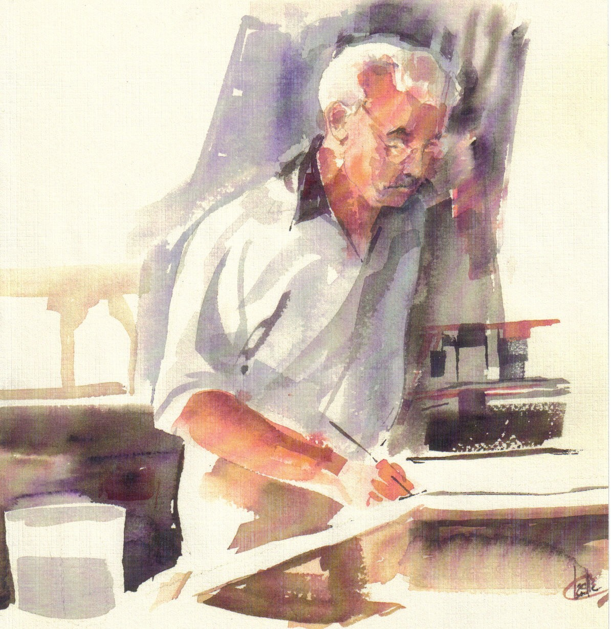 This watercolor of Robert Edwin Culligan was painted by Betty Sievert in the early 1980s.