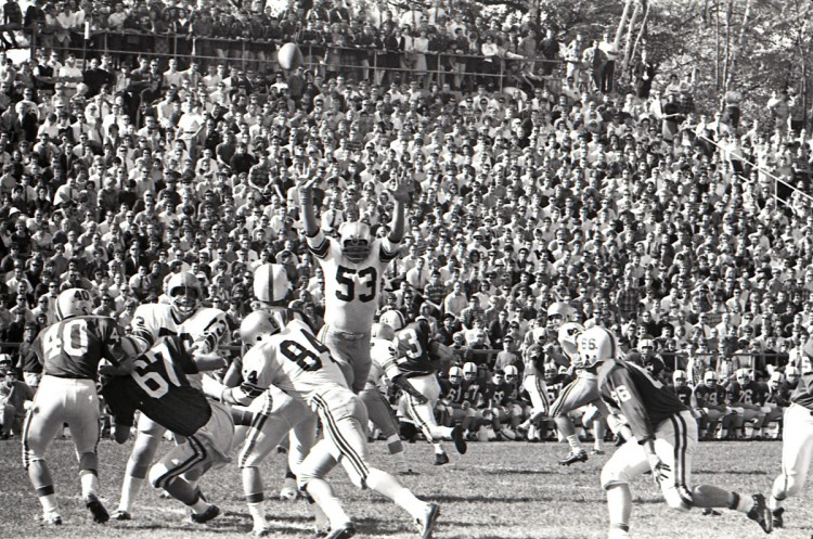 Another loss at Saint John's in 1966, 0-21. But that is an impressive crowd stacked up in the bleachers.