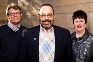(left to right_ Virgil Wiebe, George Baboila and Dr. Patricia Stankovitch. Photo by Tom Whisenand.