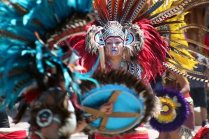 A member of the Aztec dance troupe Kalpulli KetzalCoatlique performs. Photo courtesy of KetzalCoatlique.