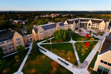 An aerial view of the lower quad. (Photo by Mike Ekern '02)