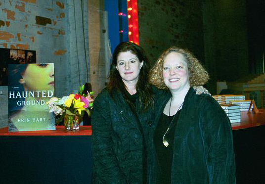 Hart (right) with her agent, Sally Wofford-Girand, at the book launch for Haunted Ground, November 2003. Photo courtesy of Hart.