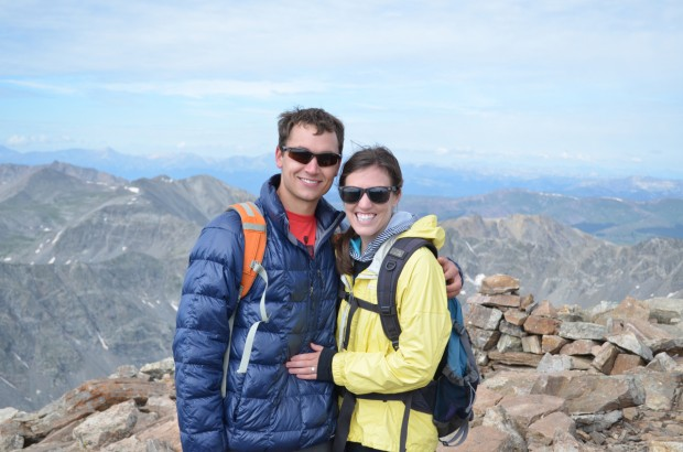 Krieger and Rauchwarter on top of Quandary Peak, Colo., moments after he proposed.