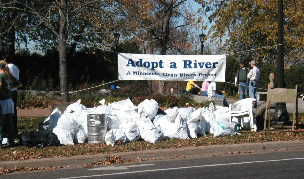 The trash bounty of the fall 2003 Mississippi River cleanup, including found beer keg, far left.