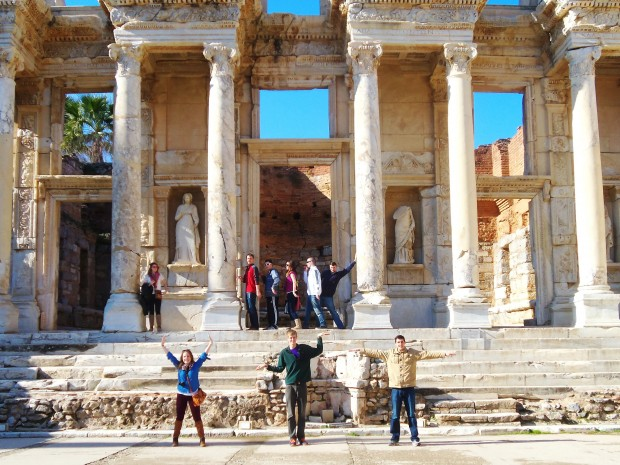 Students strike a pose at the ruins of a library in Ephesus, Turkey on the UMAIE: Islam in Turkey course during J-Term 2013. Photo courtesy of Megan Coffman.