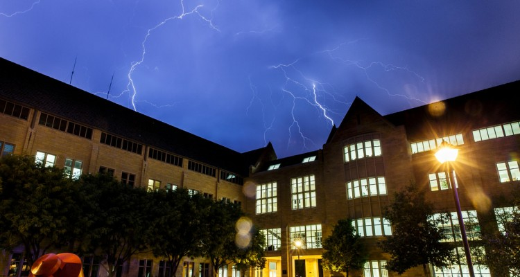 Lightning flashes over the Frey Science and Engineering Center Oct. 2. (Photo by Mark Brown)