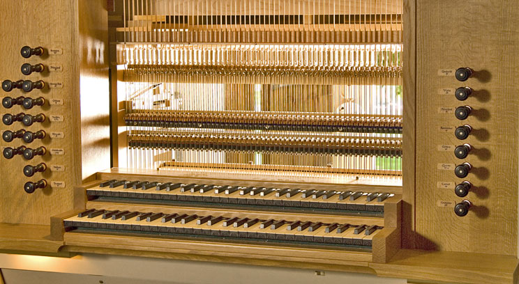 Keyboard of the Fritz Noack organ in St. Mary's Chapel at the St. Paul Seminary School of Divinity.