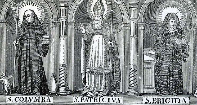 "Saints Columba, Patrick and Bridget as they appear in ""The Most Ancient Lives of Saint Patrick,"" by James O'Leary. Published in New York, 1904."