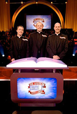 "Three men from the St. Paul Seminary School of Divinity are pictured on the set of ""The American Bible Challenge."" From the left are Deacon Marc Paveglio, Mark Pavlak and Chad VanHoose."