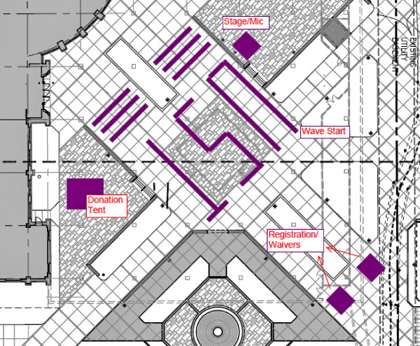 Diagram for the Sept. 4 ALS Ice Bucket Challenge at St. Thomas. The Anderson Student Center is in the upper-left-hand corner; the plaza fountain is at the bottom.