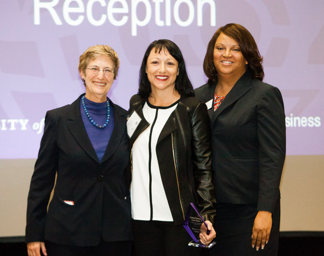 Raelyn TrendeTarget Corporation accepts Corporate Champion of the Year award with Dean Lenway on left and Linda Sloan.