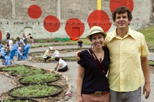 Public Art St. Paul artist-in-residence Amanda Lovelee with biology professor Adam Kay