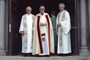 Father Charles Froehle, pictured at right in front of St. Mary's Chapel, was a major architect of the affiliation of the St. Paul Seminary and the then College of St. Thomas.  He worked closely on the 1987 affiliation with the late Monsignor Terrence Murphy of St. Thomas, at left, and Archbishop John Roach.