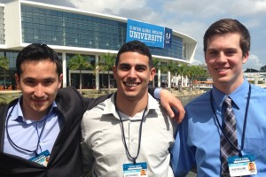 CGI U students seniors John Umarov and Julio Vasquez and sophomore Chad Helland