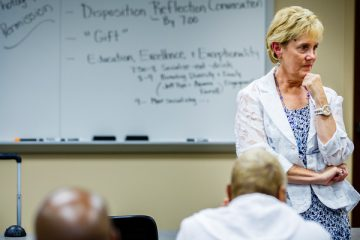 Terri Vandercook lectures during her College of Education, Leadership and Counseling special education class July 17, 2014 in McNeely Hall.