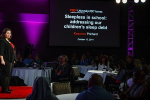 "A photo of St. Thomas psychology professor J. Roxanne Prichard delivers her speech, ""Sleepless in School: Addressing Our Children's Sleep Debt,"" during the TEDx University of St. Thomas event October 15, 2014 in the Anderson Student Center's Woulfe Alumni Hall. The university's event was hosted by the College of Education, Leadership and Counseling and focused on reimagining education."
