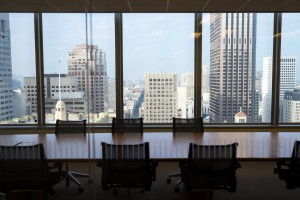 A boardroom at Mainsail's offices waits quietly for the Tommies' pitches.