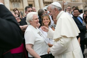 St. Thomas' Katarina Schuth met Pope Francis on Sept. 5 in Rome.