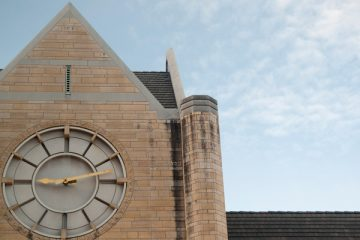 The clock tower of Terrence Murphy Hall