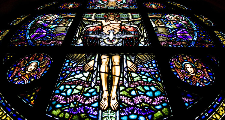 Stained glass window in Chapel of St. Thomas Aquinas.  Taken August 7, 2007.