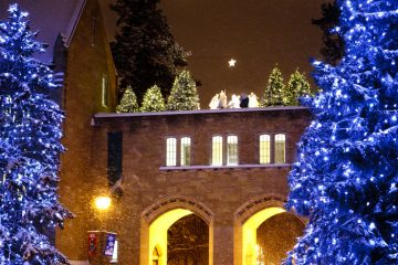The Arches amidst snow, pine trees with lights, and the Nativity Scene are shown the night of December 20, 2010.