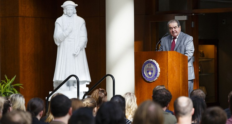 Supreme Court Justice Antonin Scalia at the University of St. Thomas School of Law on October 20, 2015.
