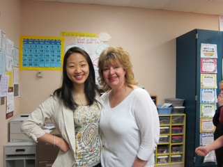 Eubene Kim (left) pictured with a colleague on her last day of clinical practice at Cherry View Elementary School.