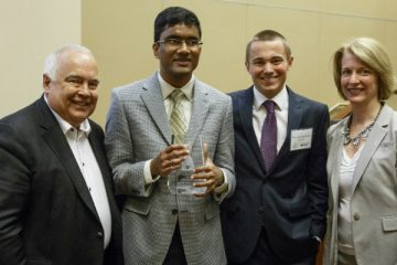 Ron Fowler '66, Nikhil Dama, Tim van Laarhoven, Laura Dunham, Ph.D. (Photo by Mike Ekern '02)