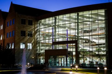 The School of Law is shown at dusk on the Minneapolis campus October 5, 2015.