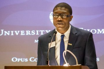 Amiri Brotherson gives a speech at the Opus College of Business Corporate Partner Reception in Schulze Grand Atrium on Wednesday, November 4, 2015.