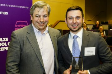 Associate Dean of Entrepreneurship Brian Abraham, with 2016 St. Thomas Business Plan collegiate division winner Jeremy Little