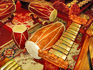 Gamelan percussion instruments.