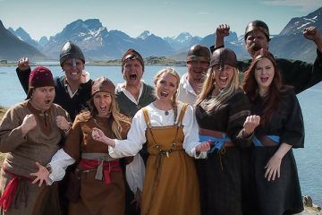 "'93 alumnus Greg Larsen (back row, second from left) and some of his cast mates from season four of hit Norwegian reality show ""Alt for Norge."" Photo courtesy of Alt for Norge."