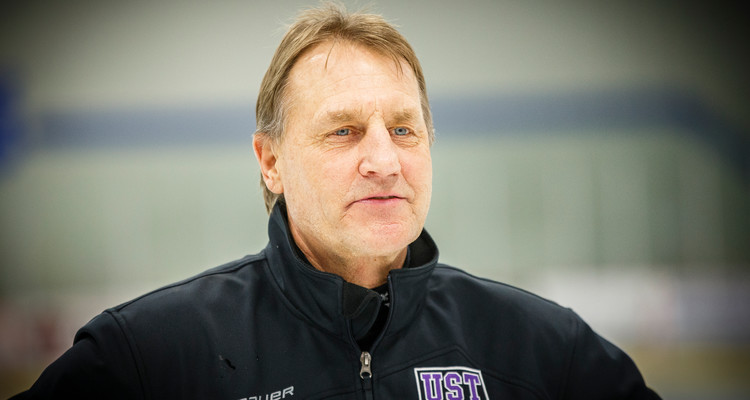 Head Coach Jeff Boeser is pictured after the MIAC Championship hockey game against Gustavus Adolphus College at the St. Thomas Ice Arena in Mendota Heights on March 8, 2014. The Tommies won the game and the MIAC Championship title by a final score of 2-1.