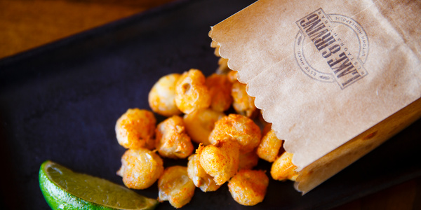 Fried corn nuts at Lake & Irving Restaurant & Bar in Minneapolis. These photos accompany portraits of Chris Ikeda (Entrepreneurship), chef and owner of Lake & Irving Restaurant & Bar, and Reid Hellgren ('97, MBA), former partner in Parella, taken at Lake & Irving in Minneapolis on May 18, 2016.