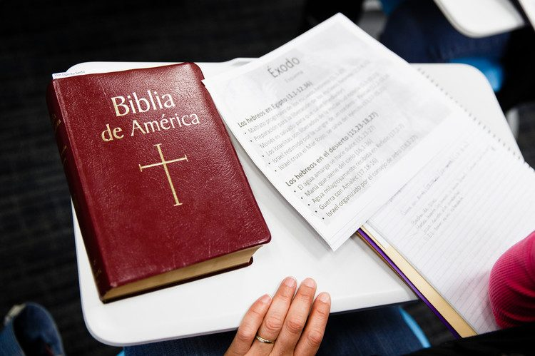 A Spanish language Bible is shown during a Hispanic Lay Ministry class.